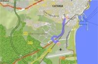 Mappa stradale circostante l'aeroporto di Catania