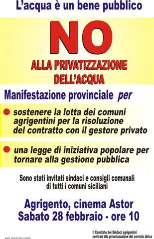 manifesto per l'incontro dei sindaci contrari alla privatizzazione dell'acqua