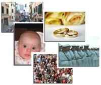 Insieme di foto che rappresentano gli eventi della vita come la nascita di un bambino, il matrimonio, l'essere cittadino.