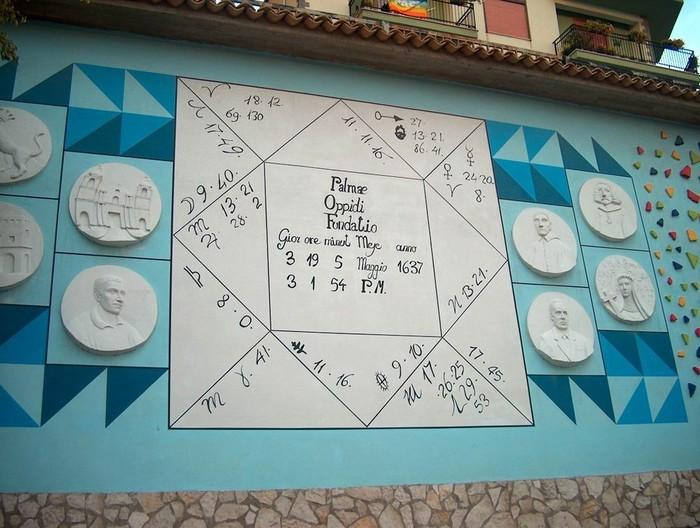 foto del particolare di un murales con la data di fondazione di Palma