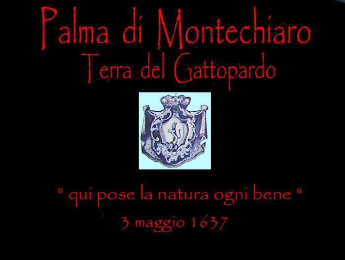 foto di un disegno dello stemma dei Tomasi con scritta Palma di Montechiaro Terra del Gattopardo qui pose la natura ogni bene 3 maggio 1637